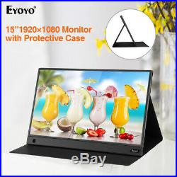 EYOYO 15.6 IPS HDMI Monitor 1080P HDR Color Gaut 72% with Case for Macbook pro