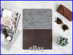 Leather and felt sleeve case for Apple MacBook laptop 11 12 13 15 Air Retina Pro