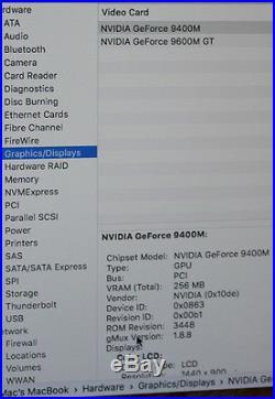 MacBook Pro 15 Mid 2009 Intel Core 2 Duo 2.8GHz 4GB RAM 250GB HD MS Office, Case