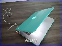 Macbook Pro 13 Inch Mid 2012, Mint Color Case, and Charging Cord Bundle