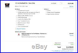 Mint MacBook Pro 13 Touch Bar 3.1ghz 8GB 256GB + Applecare Case Bundle MPXV2B/A